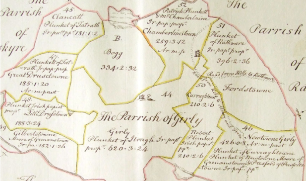 Down survey map of Girley parish and bog